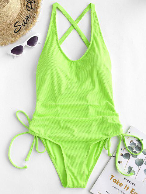 Ribbed Criss Cross Cinched Swimwear - GREEN YELLOW XL