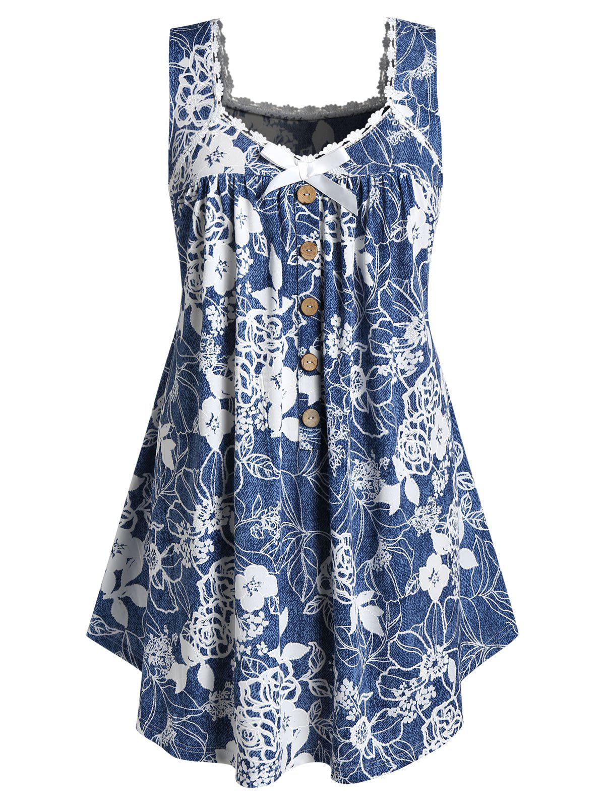 Plus Size Flower Print Button Embellished Lace Trim Tank Top - SILK BLUE 2X