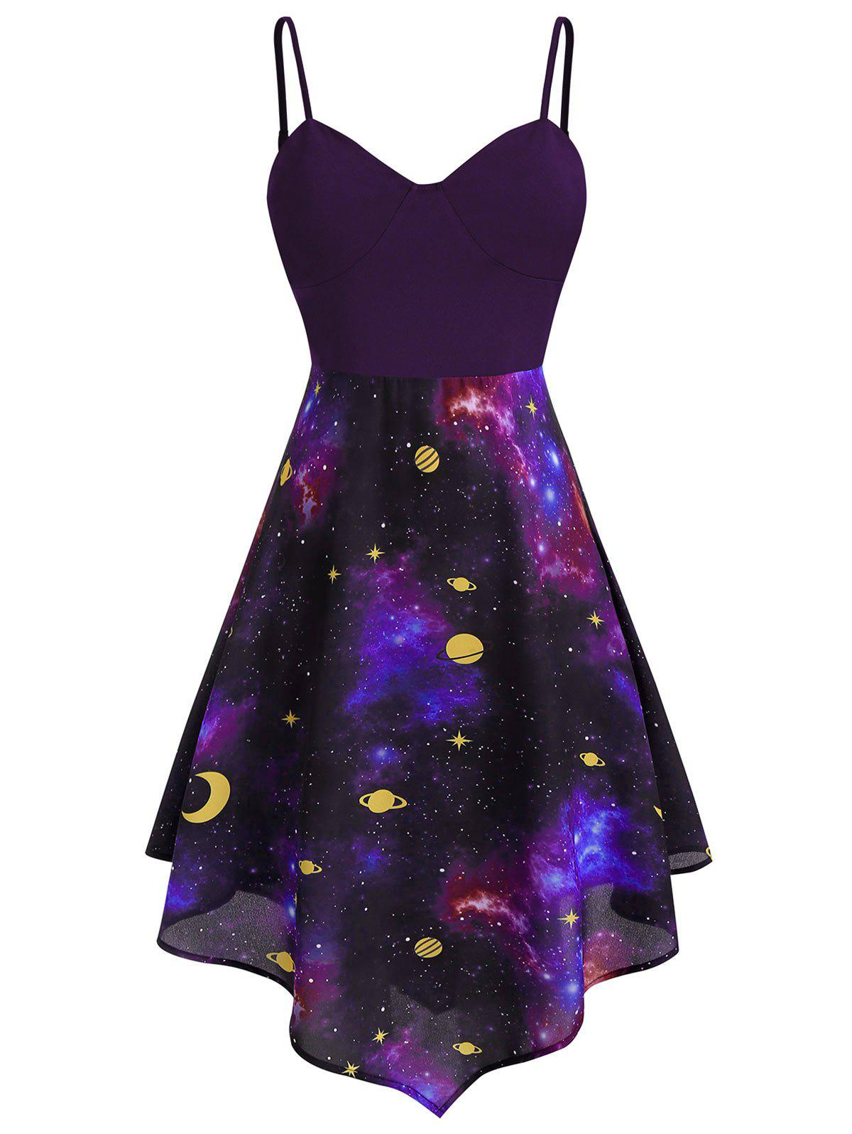 Plus Size Asymmetric Moon and Star Starry Cami Dress - PLUM PURPLE 3X