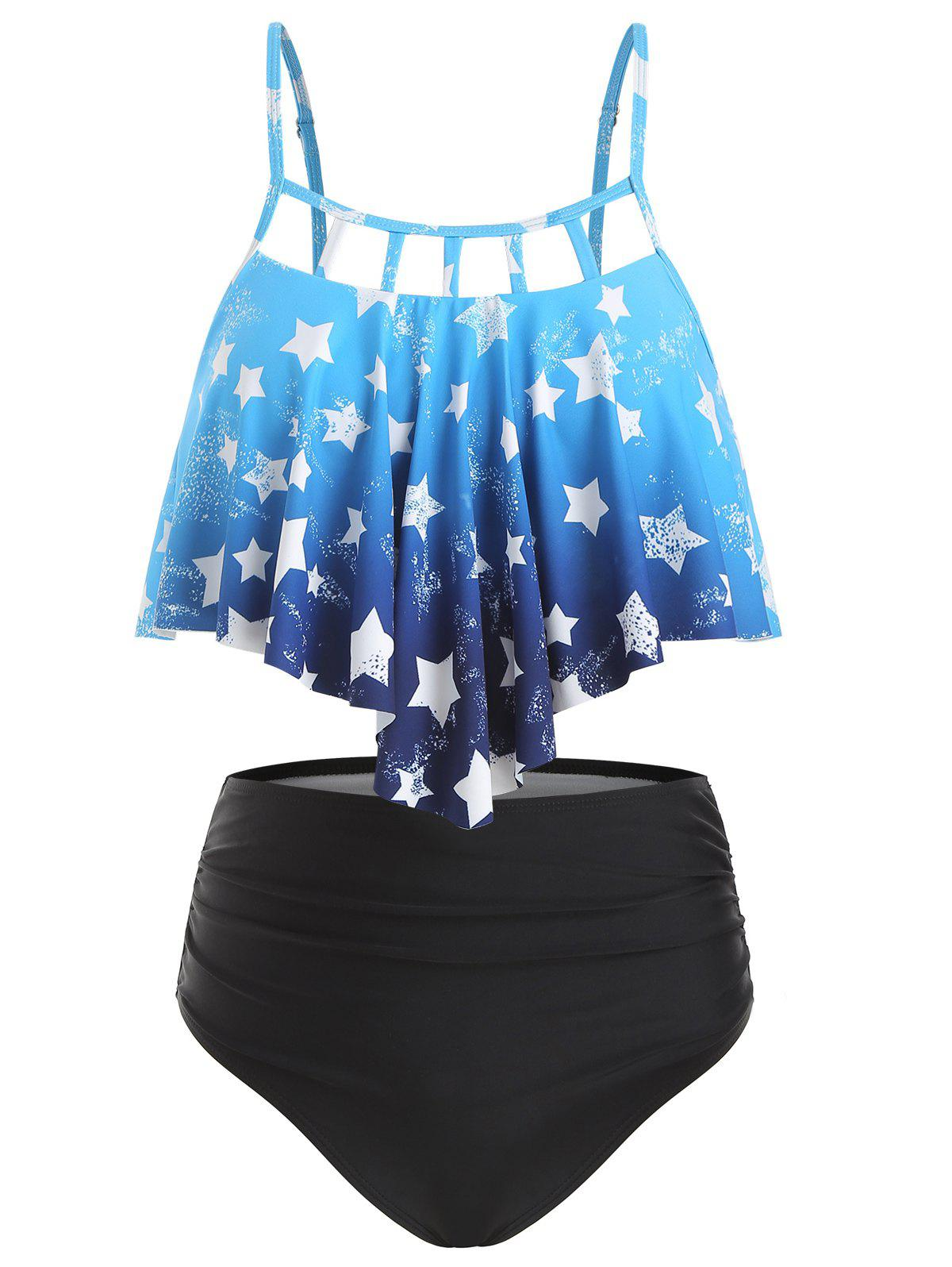 Cut Out Star Print Ombre Tankini Swimsuit - DEEP SKY BLUE 2XL