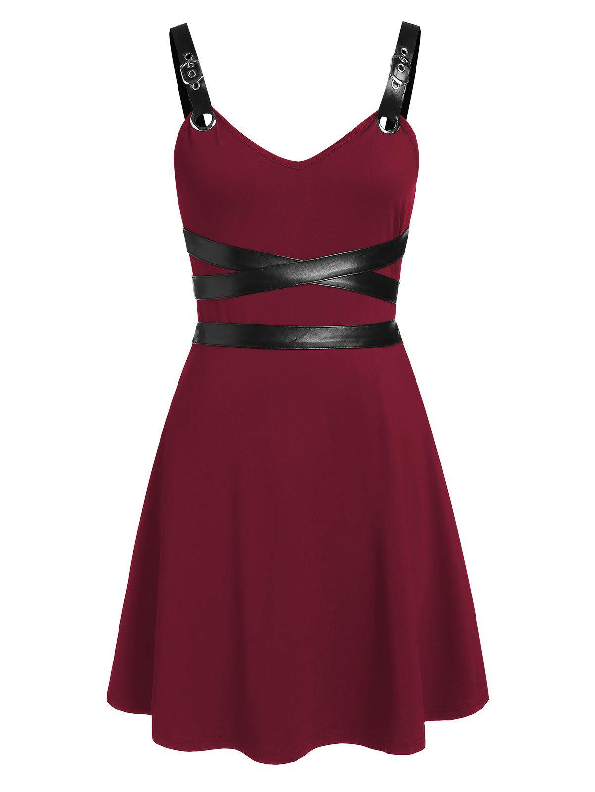 Sleeveless Faux Leather Insert Flare Dress - RED WINE XL
