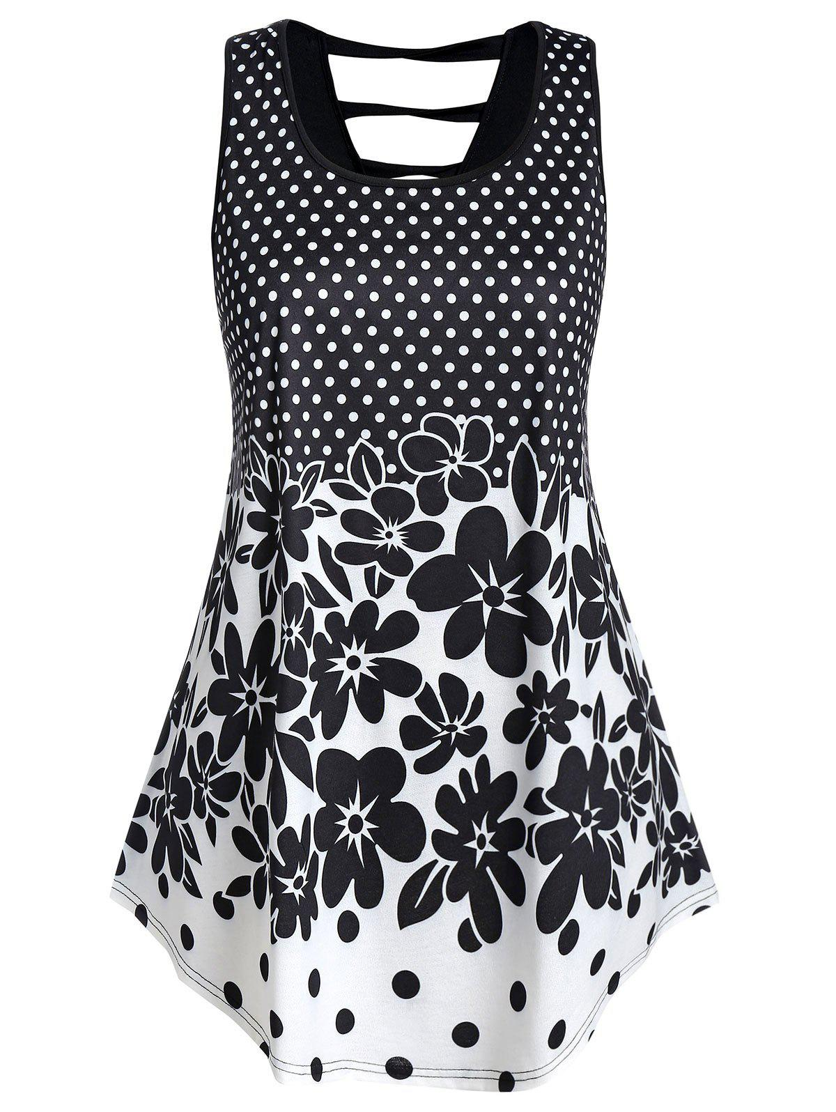 Plus Size Polka Dot and Floral Print Curved Hem Tank Top - BLACK 1X