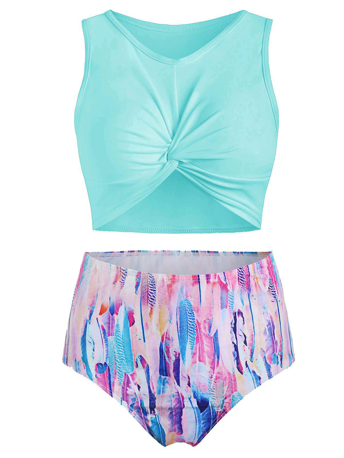 Feather Print Twist Front Padded Tankini Swimsuit - TRON BLUE S