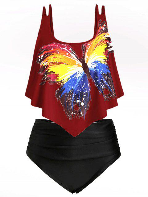 Butterfly Graphic Flounces Plus Size Tankini Swimsuit - RED WINE 3X