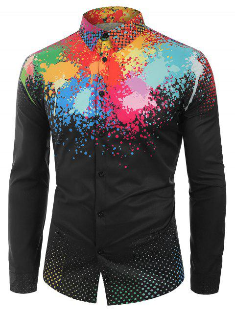 Colorful Splatter Painting Polka Dots Print Casual Shirt - multicolor 2XL