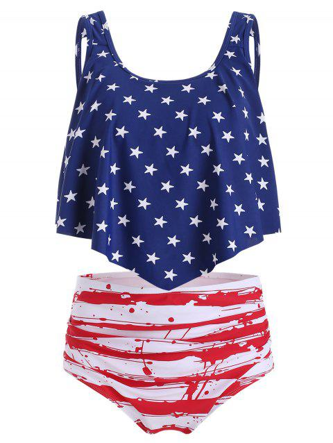 American Flag Print Ruched Overlay Tankini Swimsuit
