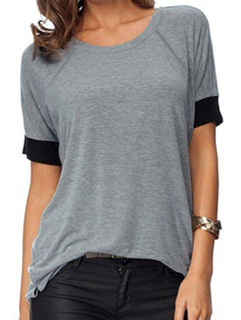 Round Neck Contrast Trim Slits Marled Tee - GRAY 2XL