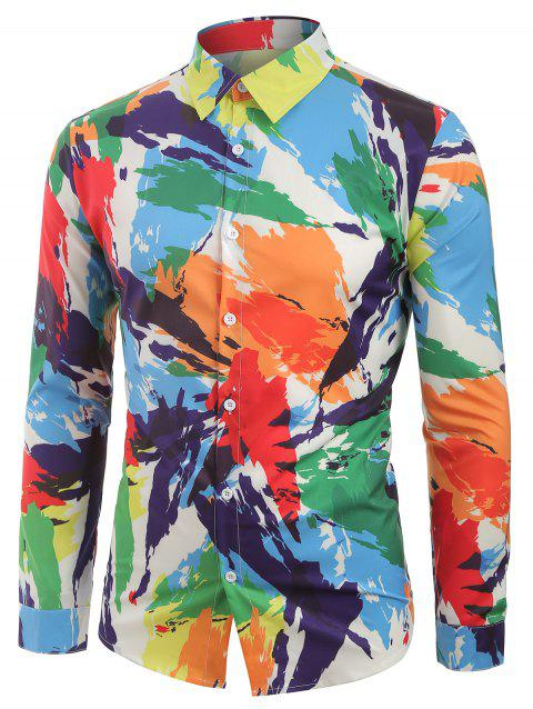Long Sleeves Colorful Painting Print Shirt - multicolor 2XL