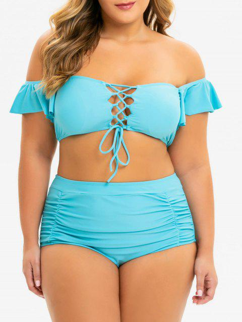 Plus Size Off Shoulder Lace Up Tummy Control Bikini Swimsuit - BLUE IVY 2X