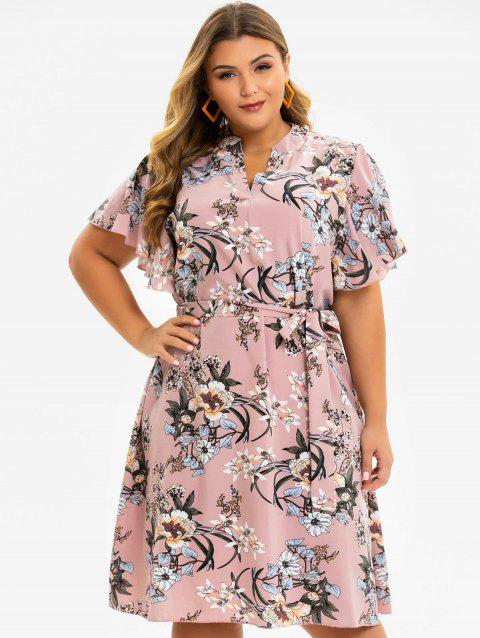 Floral Butterfly Sleeve Plus Size Trapeze Dress