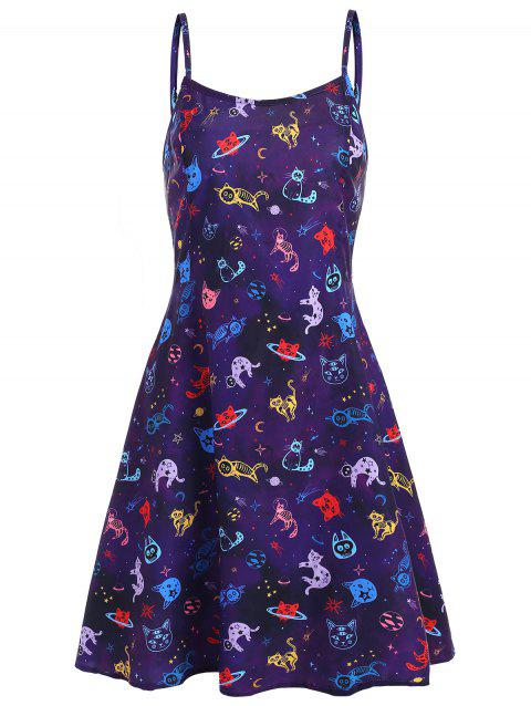 Cats Graphic Flared Cami Dress - PURPLE L
