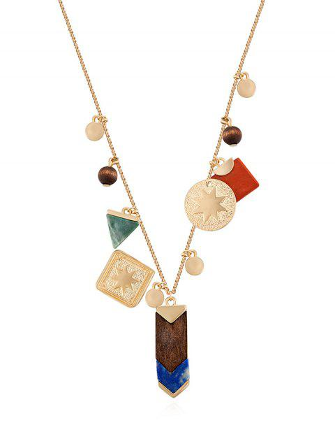 Eight Star Geometric Wooden Bead Necklace - GOLD