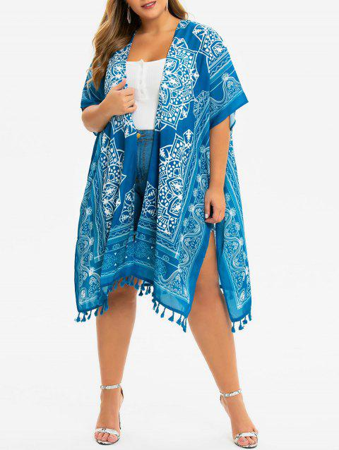 Printed Open Front Slit Tassels Plus Size Blouse - BLUE ONE SIZE