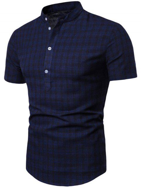 Plaid Pattern Button Short Sleeves T-shirt - CADETBLUE 2XL