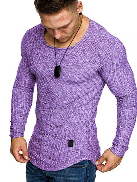 Solid Color Striped Spliced Long Sleeves T-shirt - PURPLE M