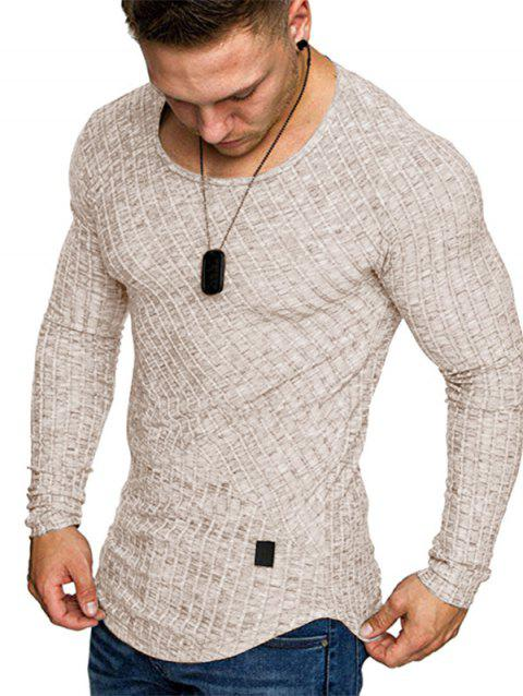 Solid Color Striped Spliced Long Sleeves T-shirt - KHAKI L