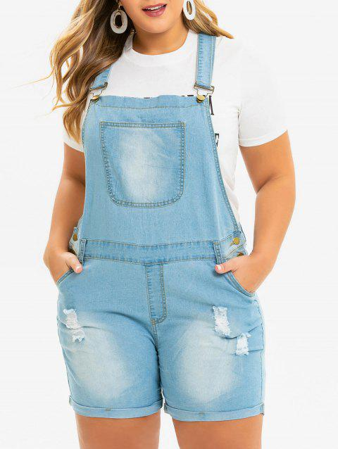 Distressed Cuffed Plus Size Denim Overalls - JEANS BLUE 1X