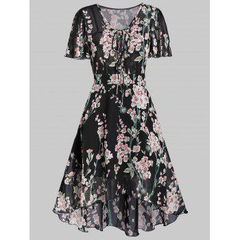 Flower Print High Low Lace-up Dress