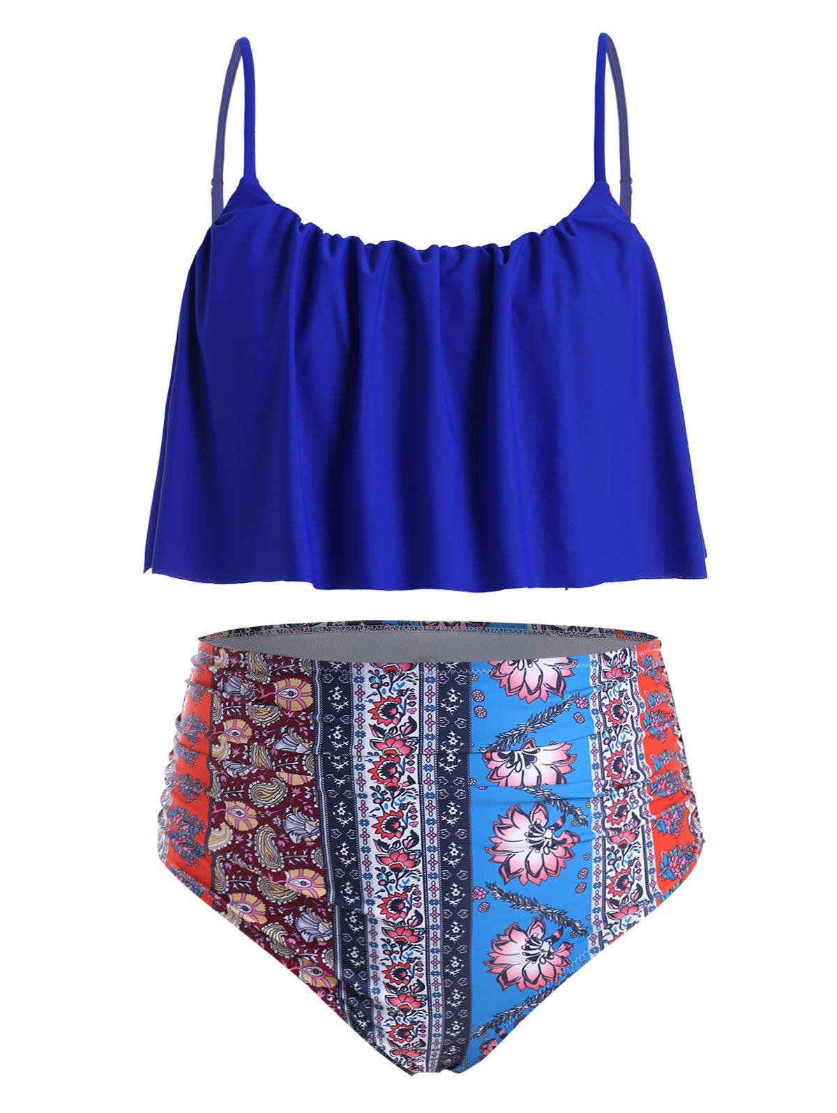 Plus Size Ethnic Print Ruffled Tankini Swimwear - OCEAN BLUE 2X