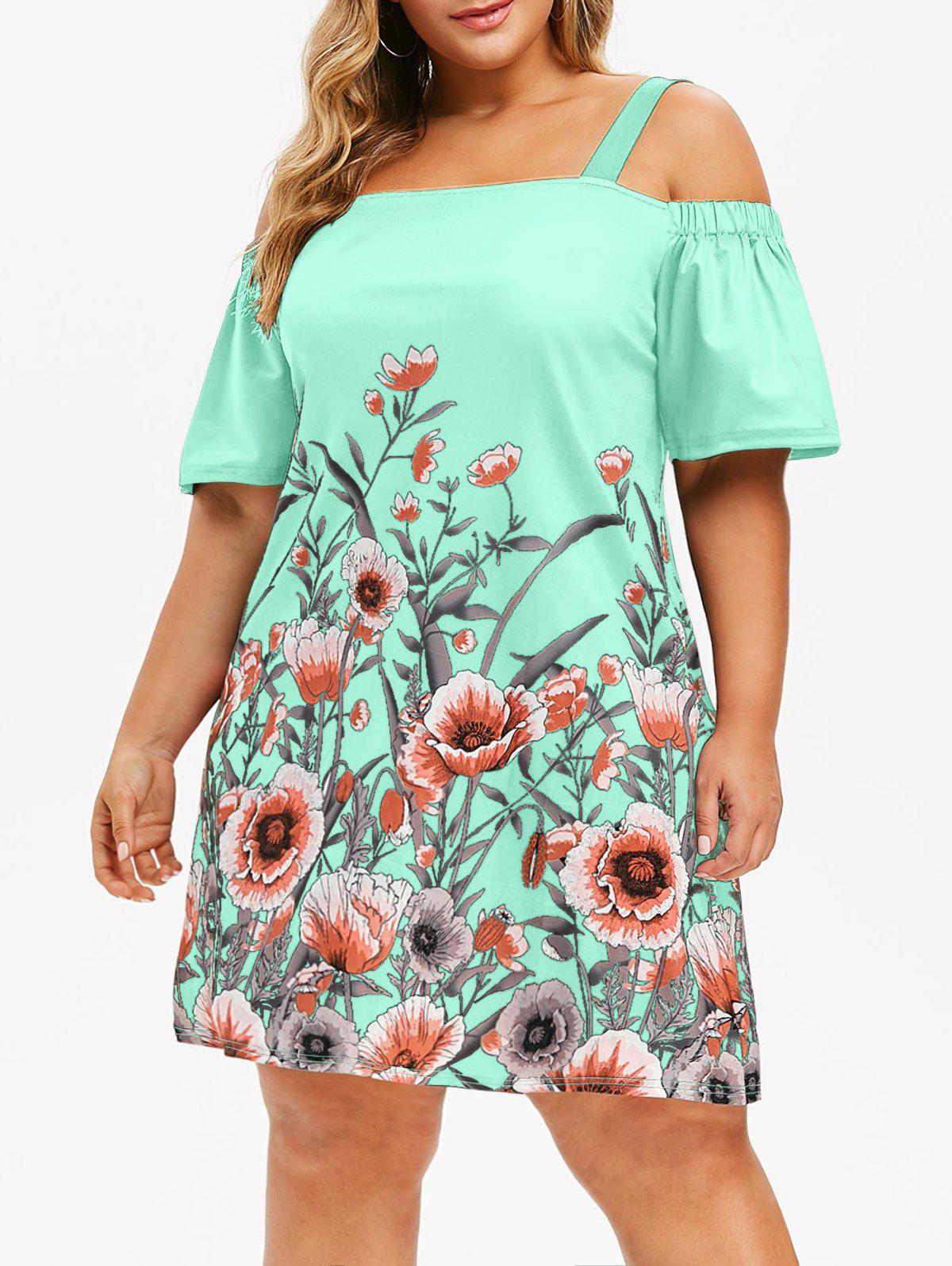 Plus Size Open Shoulder Floral Dress - LIGHT AQUAMARINE L