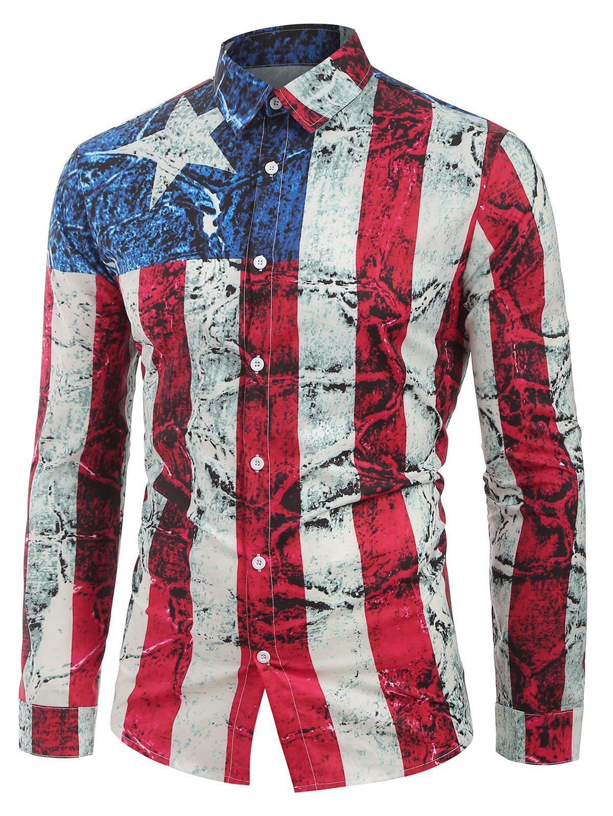 Long Sleeves Distressed American Flag Print Button Shirt - multicolor M