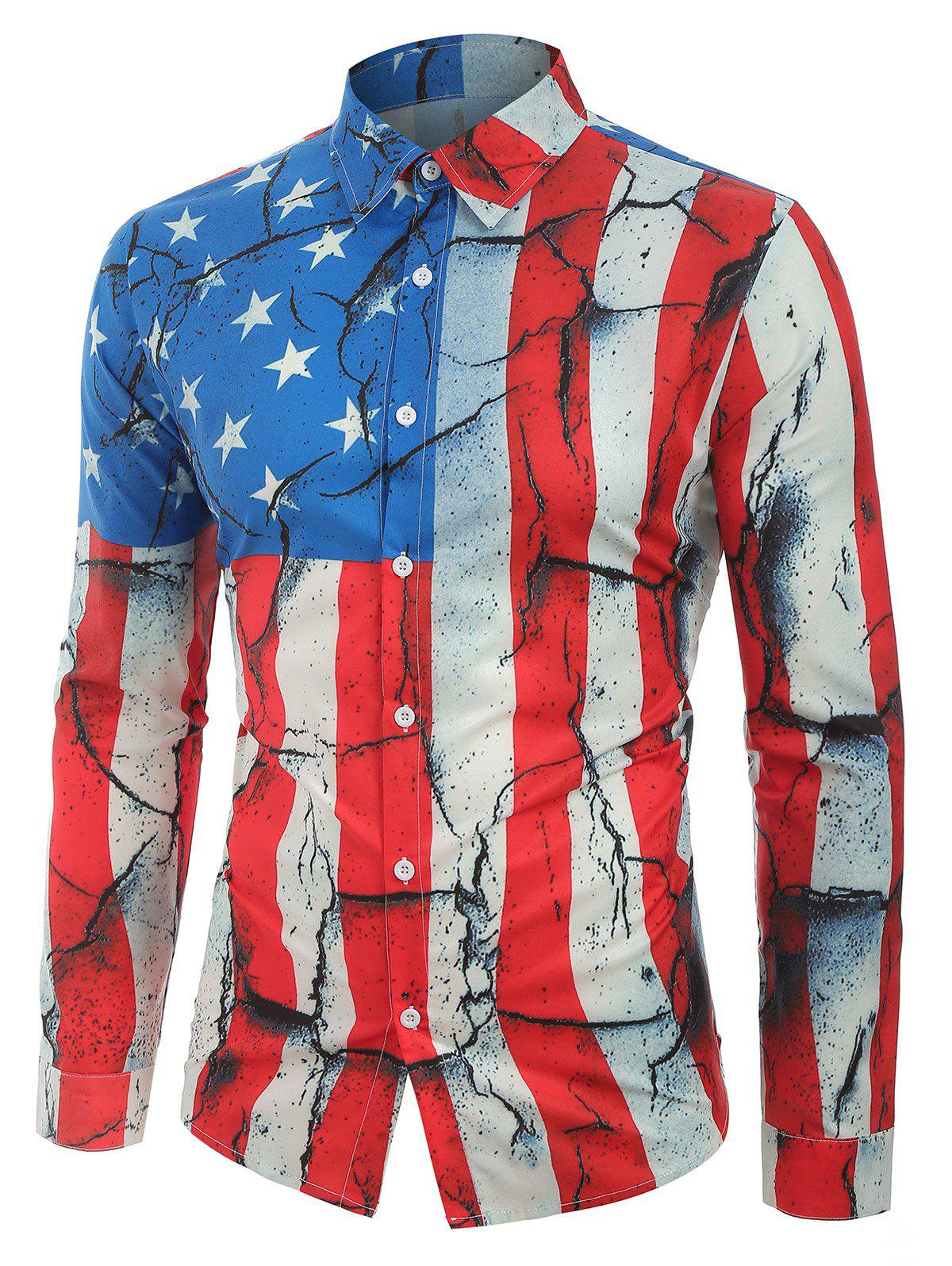 Cracked Patriotic American Flag Print Button Shirt - multicolor L