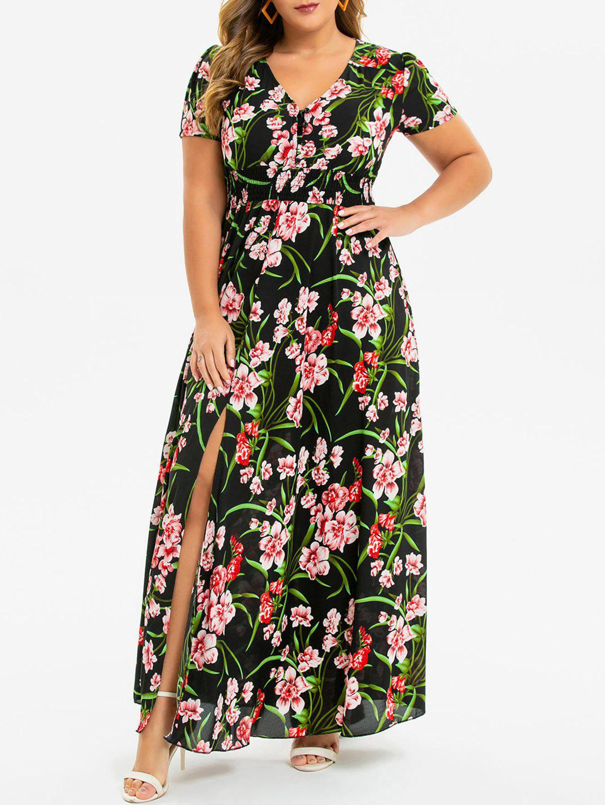 Floral Shirred Slit Plus Size Maxi Dress - BLACK L