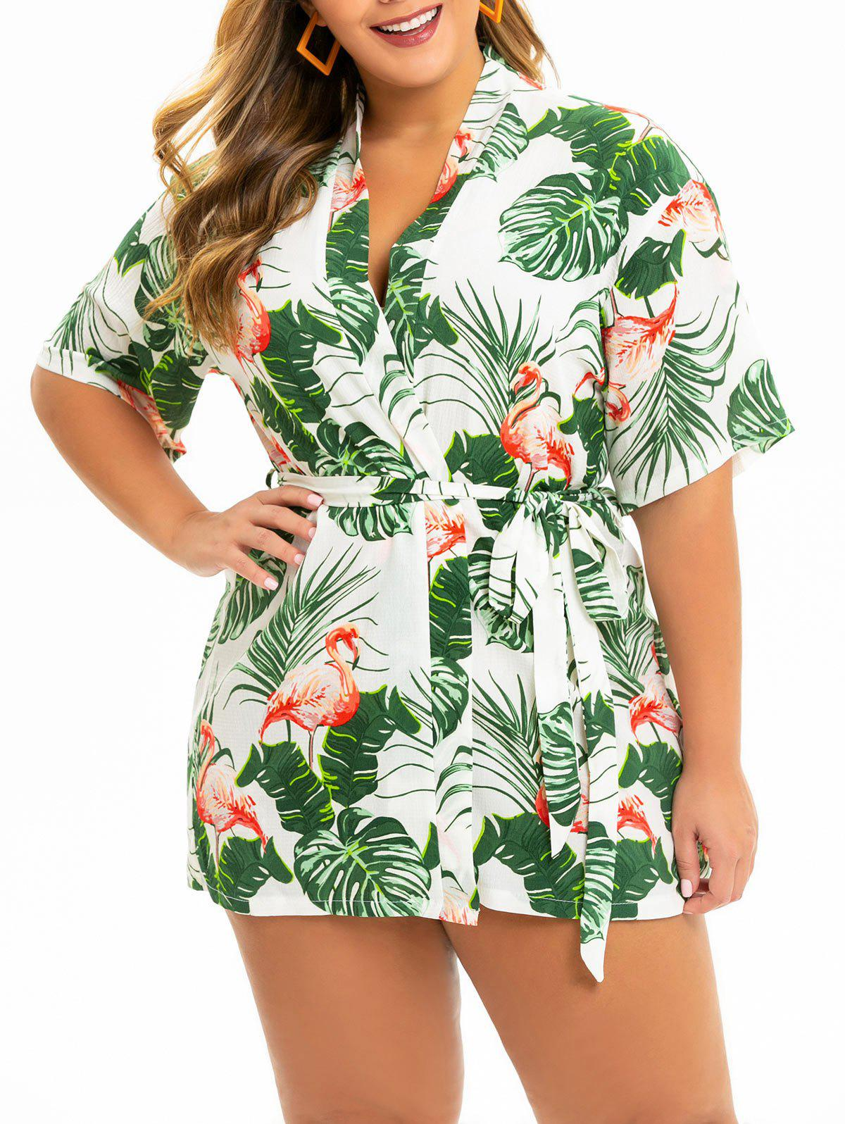 Flamingo Leaf Print Plus Size Kimono Dress - WHITE L