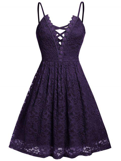 Plus Size Lace Criss Cross Cami Dress - PURPLE IRIS 5X