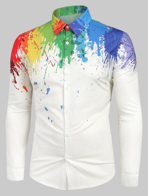 Long Sleeves Splatter Painting Print Button Shirt - WHITE 2XL