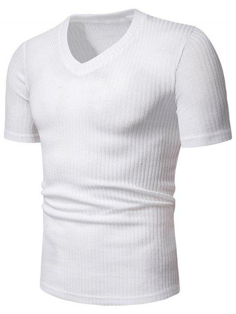 Solid Color Casual V-Neck Short Sleeves T-shirt - WHITE M