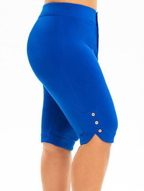 Buttoned High Waisted Knee Length Plus Size Shorts - BLUE 5X