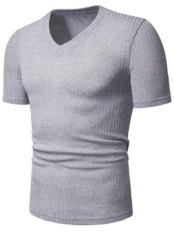 Solid Color Casual V-Neck Short Sleeves T-shirt - GRAY CLOUD M