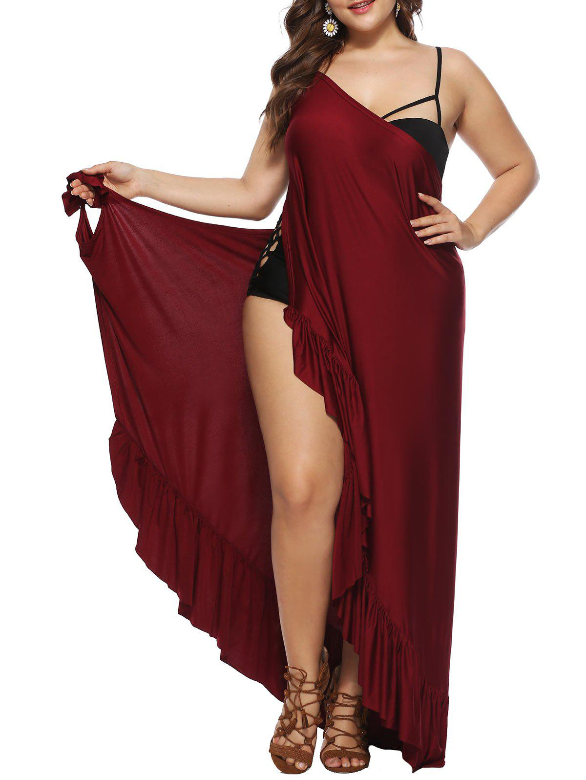 Plage Wrap Volants Cover Up Robe Taille Plus - Rouge Vineux 1X