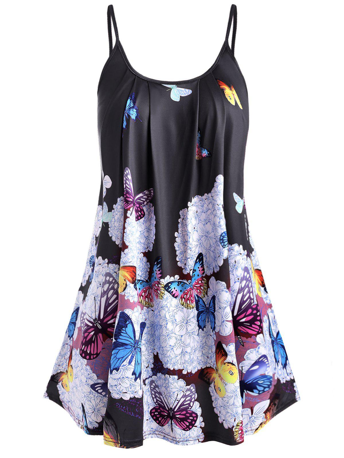 Plus Size Butterfly Print Cami Top - BLACK 5X