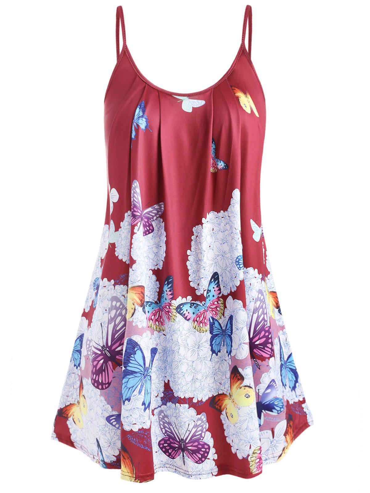 Plus Size Butterfly Print Cami Top - RED WINE 4X