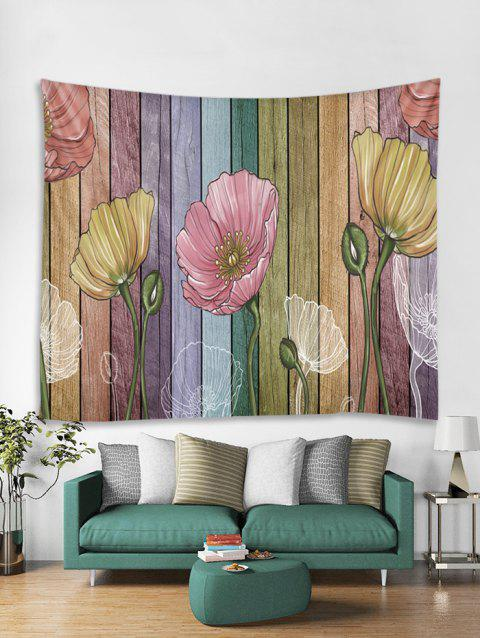 Colorful Wood Grain Flowers Print Tapestry Wall Hanging Art Decoration - multicolor A 230*180CM