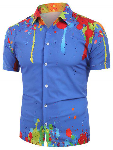 Painting Print Short Sleeves Shirt - BLUE 2XL