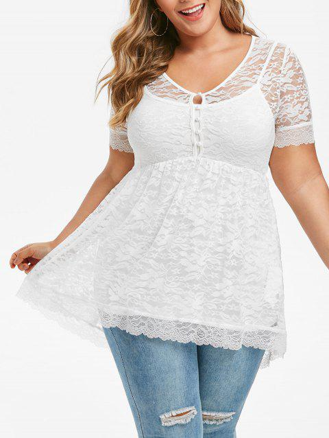 Plus Size Lace Blouse With Spaghetti Strap Tank Top Set - WHITE 2X