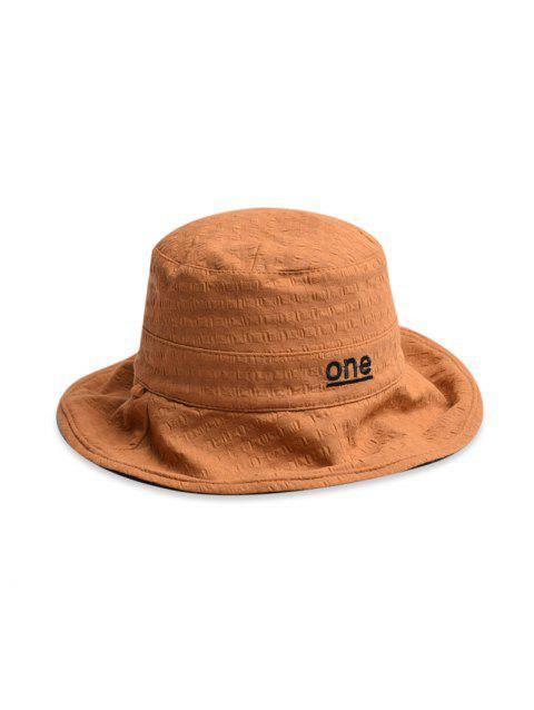 One Embroidery Pattern Bucket Hat - CAMEL BROWN