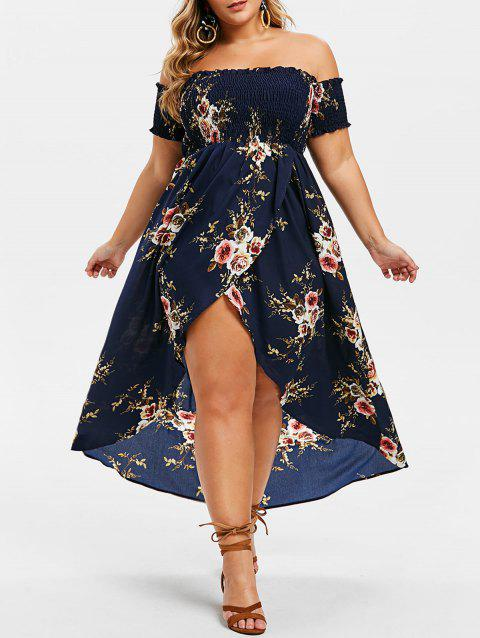 Plus Size Off The Shoulder Floral Print High Low Maxi Dress - MIDNIGHT BLUE 3X