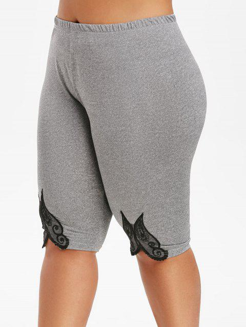 Lace Panel High Waisted Knee Length Plus Size Shorts - GRAY 2X