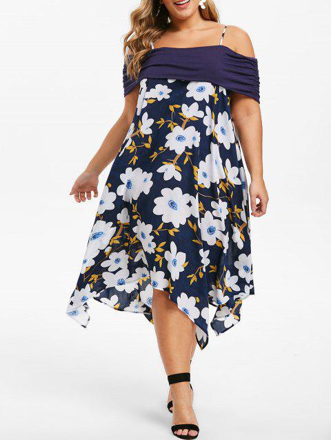 Plus Size Cold Shoulder Floral Print Handkerchief Dress - DARK SLATE BLUE 1X