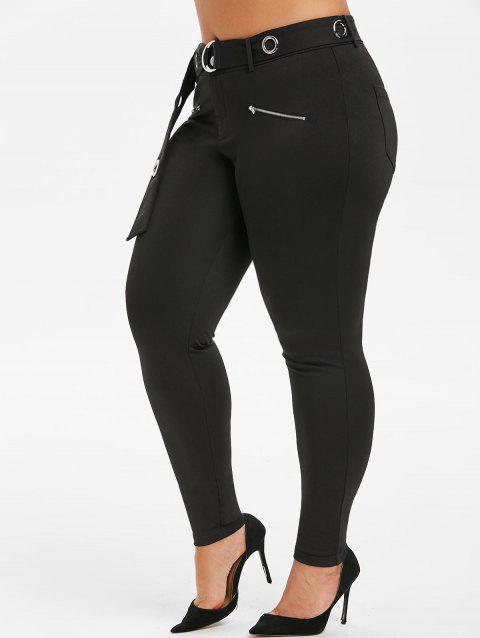 Plus Size O Ring High Waist Pants - BLACK L