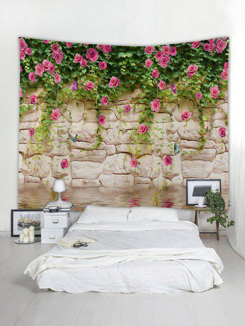 Waterside Flowers Vine Print Tapestry Wall Hanging Art Decoration - multicolor A 230*180CM
