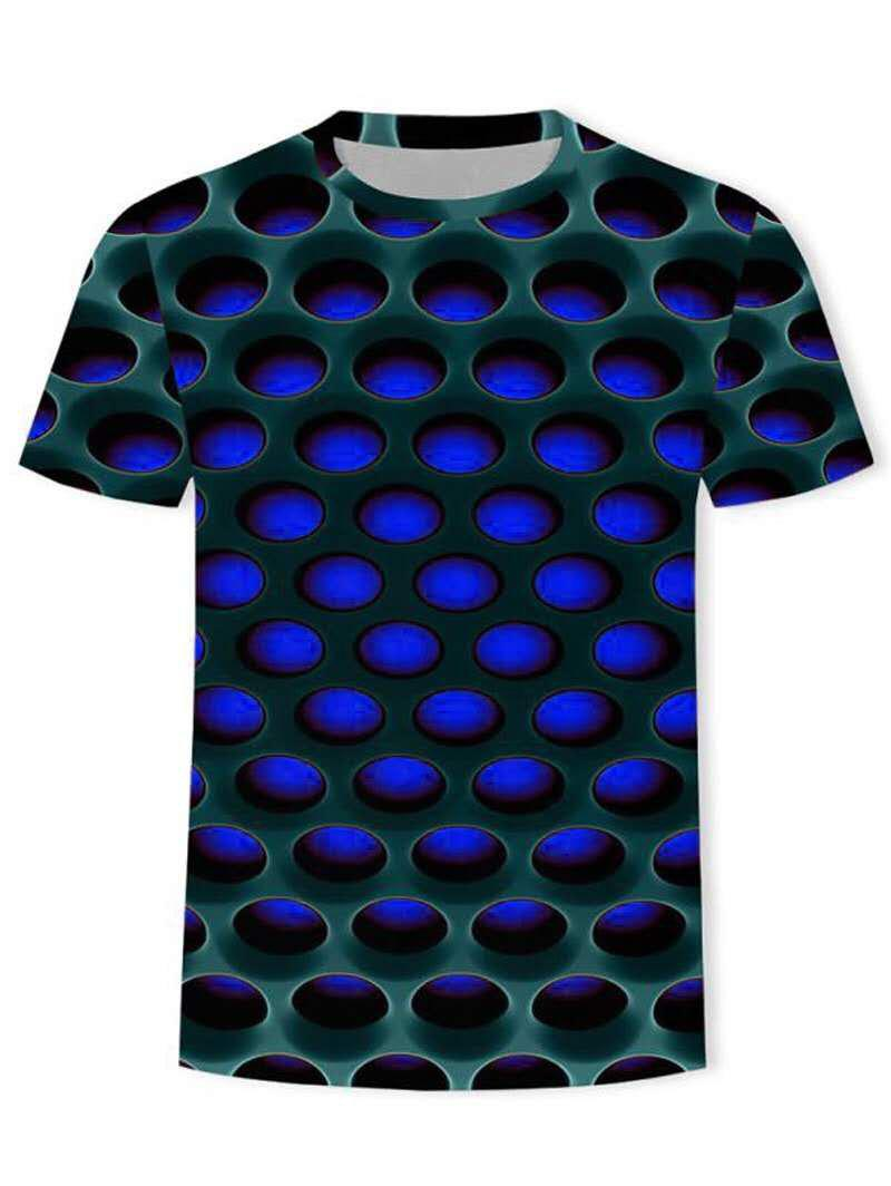 Burning Honeycomb Briquette Graphic Tee - BLUE XL