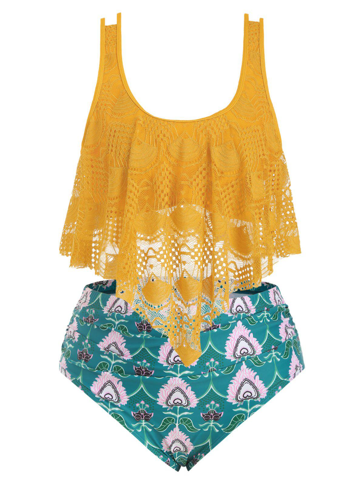 Plus Size Lace Overlay Printed Tankini Swimsuit - BEE YELLOW L
