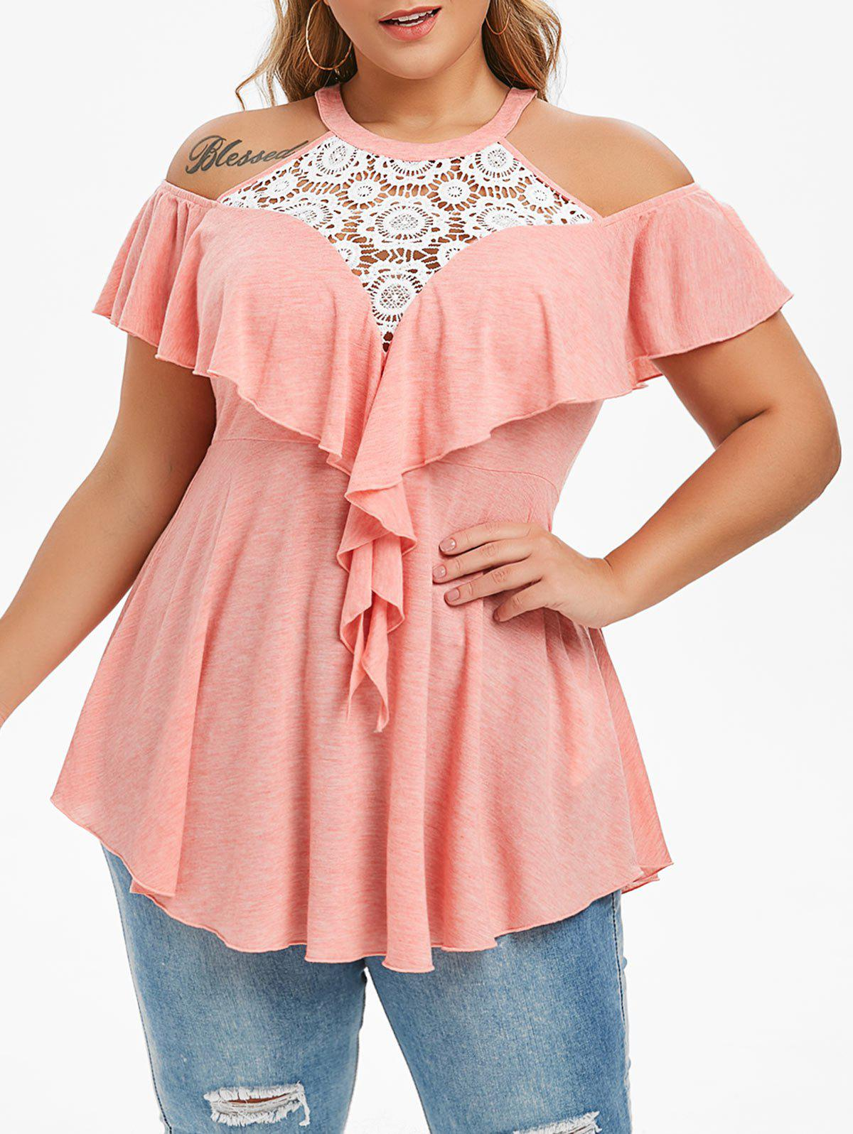 Plus Size Lace Insert Cold Shoulder Ruffled T-shirt - PIG PINK L