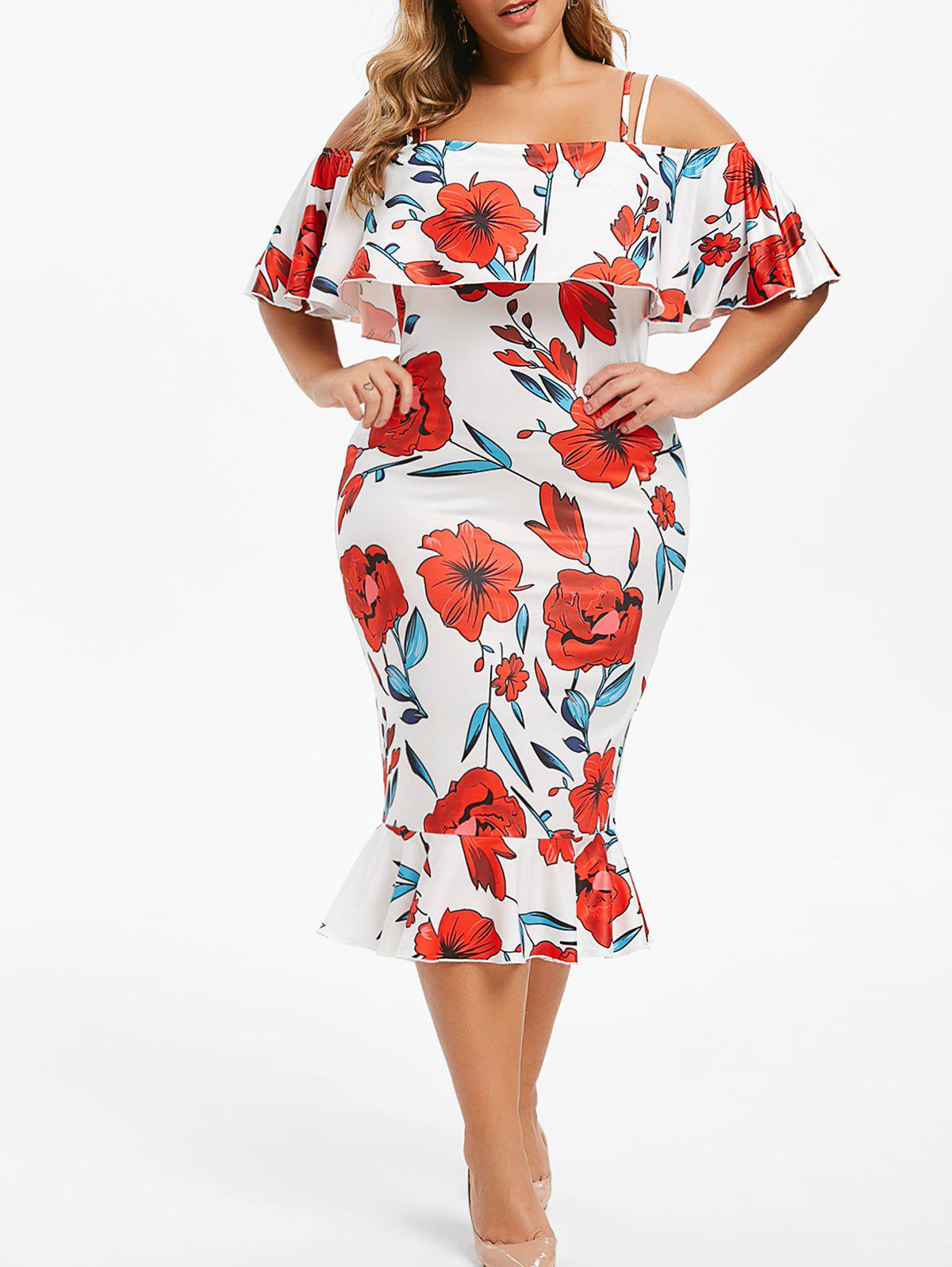 Plus Size Cold Shoulder Floral Midi Bodycon Dress - WHITE L