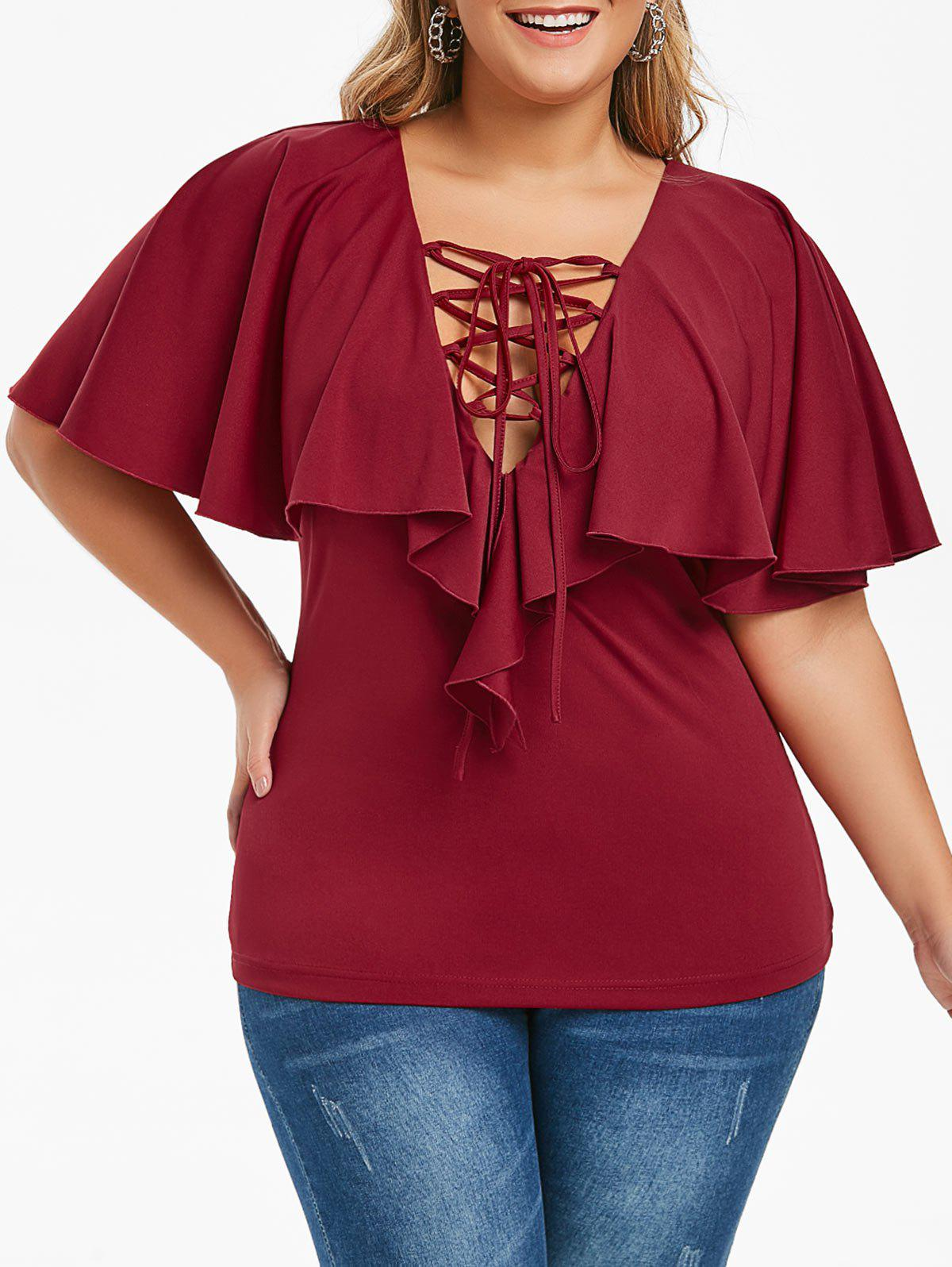 Plus Size Ruffled Lace Up T-shirt - RED WINE L